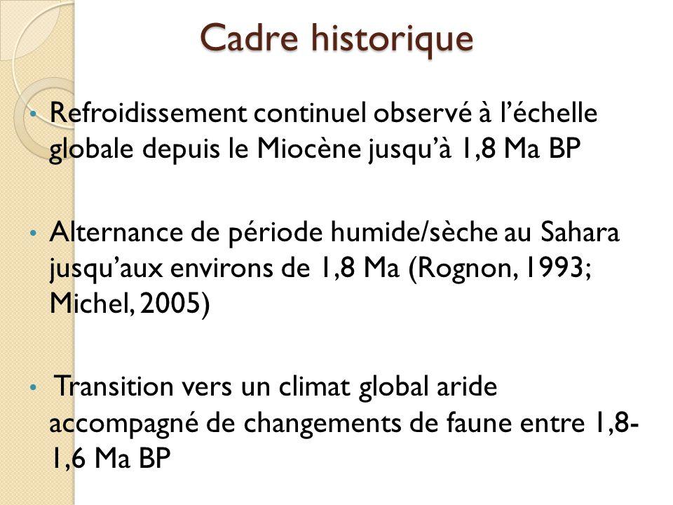 Cadre historique Refroidissement continuel observé à l'échelle globale depuis le Miocène jusqu'à 1,8 Ma BP Alternance de période humide/sèche au Sahar