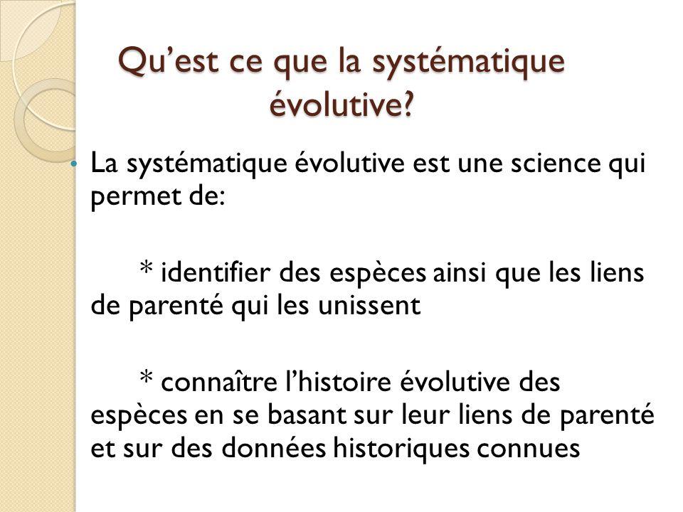 Qu'est ce que la systématique évolutive? La systématique évolutive est une science qui permet de: * identifier des espèces ainsi que les liens de pare