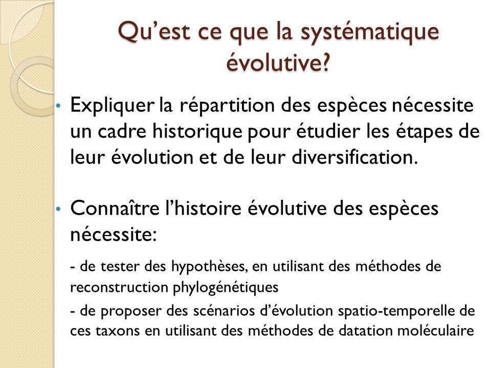 Qu'est ce que la systématique évolutive? Expliquer la répartition des espèces nécessite un cadre historique pour étudier les étapes de leur évolution