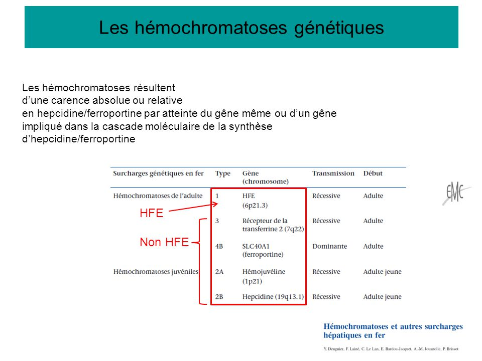 HFE Non HFE Les hémochromatoses résultent d'une carence absolue ou relative en hepcidine/ferroportine par atteinte du gêne même ou d'un gêne impliqué