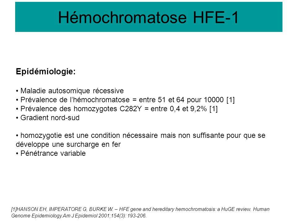Hémochromatose HFE-1 Epidémiologie: Maladie autosomique récessive Prévalence de l'hémochromatose = entre 51 et 64 pour 10000 [1] Prévalence des homozy