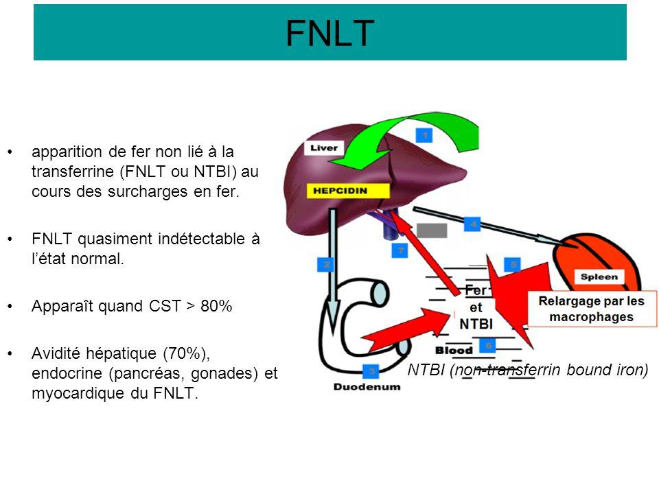 apparition de fer non lié à la transferrine (FNLT ou NTBI) au cours des surcharges en fer. FNLT quasiment indétectable à l'état normal. Apparaît quand