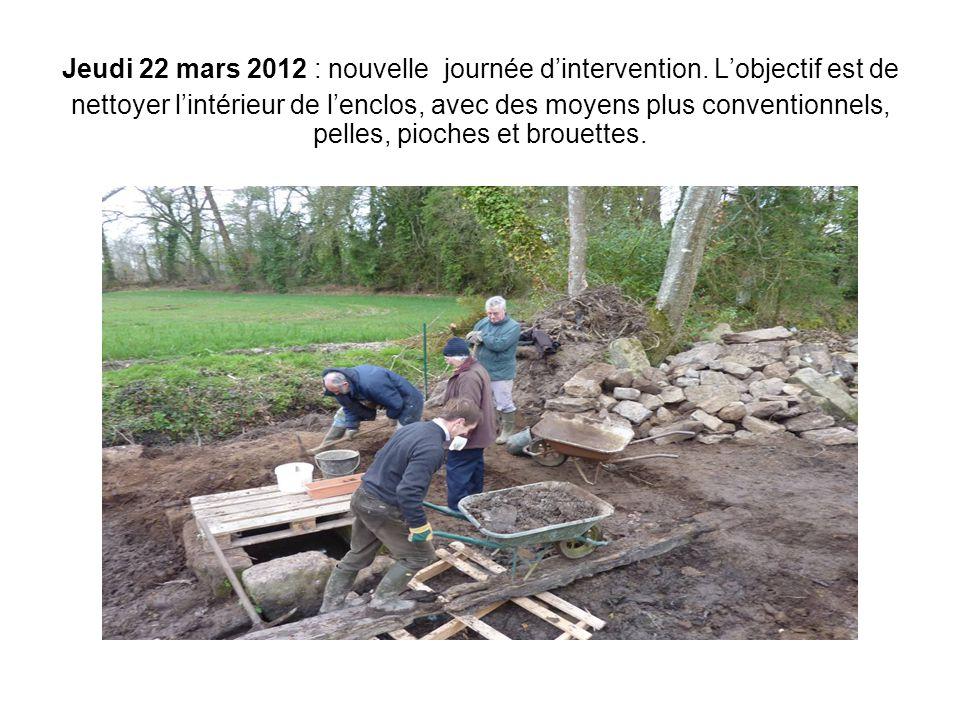 Jeudi 22 mars 2012 : nouvelle journée d'intervention. L'objectif est de nettoyer l'intérieur de l'enclos, avec des moyens plus conventionnels, pelles,