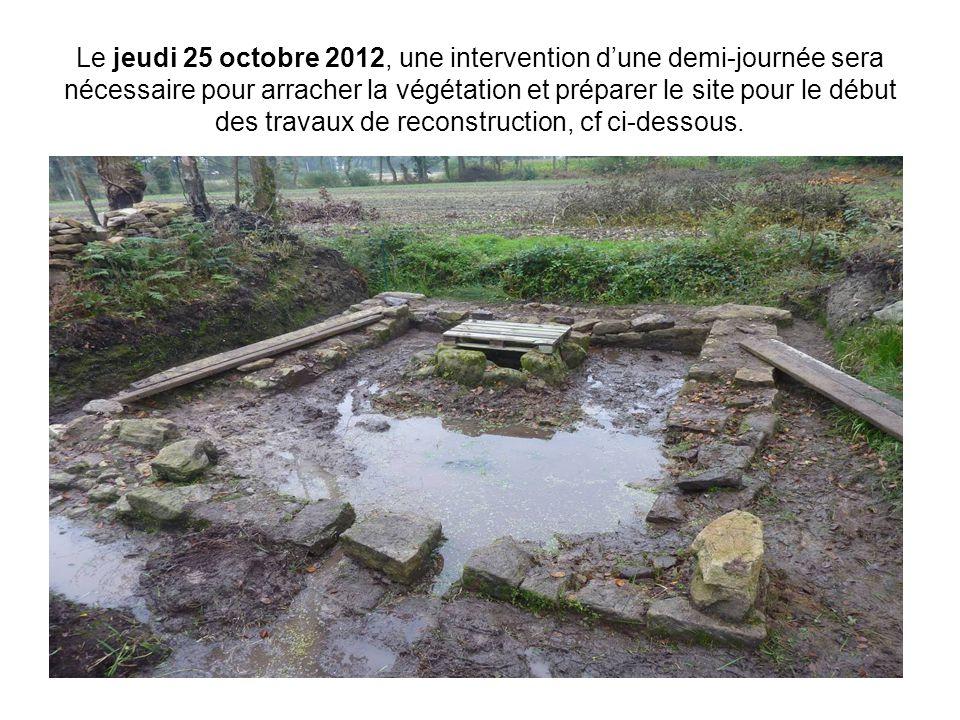 Le jeudi 25 octobre 2012, une intervention d'une demi-journée sera nécessaire pour arracher la végétation et préparer le site pour le début des travau