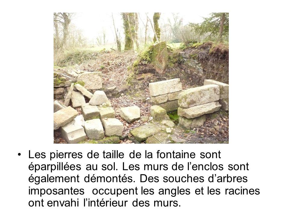 Les pierres de taille de la fontaine sont éparpillées au sol. Les murs de l'enclos sont également démontés. Des souches d'arbres imposantes occupent l