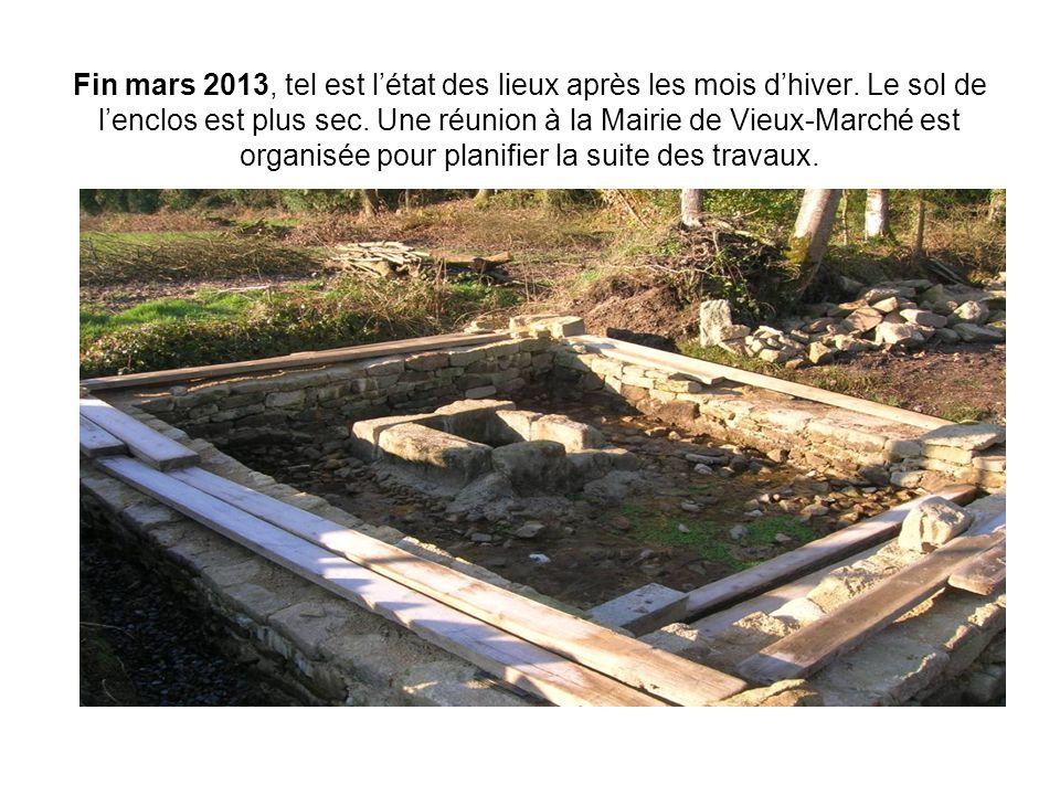 Fin mars 2013, tel est l'état des lieux après les mois d'hiver. Le sol de l'enclos est plus sec. Une réunion à la Mairie de Vieux-Marché est organisée