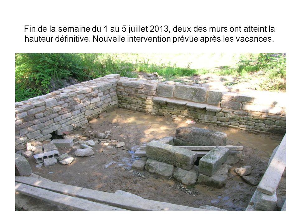 Fin de la semaine du 1 au 5 juillet 2013, deux des murs ont atteint la hauteur définitive. Nouvelle intervention prévue après les vacances.