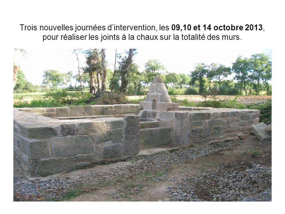 Trois nouvelles journées d'intervention, les 09,10 et 14 octobre 2013, pour réaliser les joints à la chaux sur la totalité des murs.