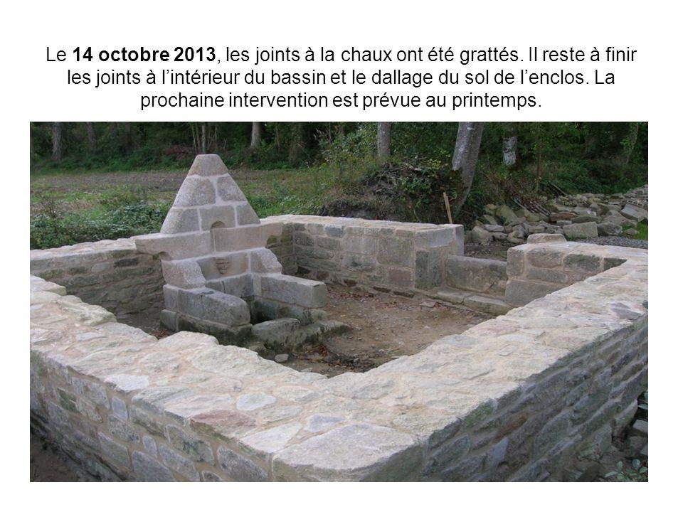 Le 14 octobre 2013, les joints à la chaux ont été grattés. Il reste à finir les joints à l'intérieur du bassin et le dallage du sol de l'enclos. La pr