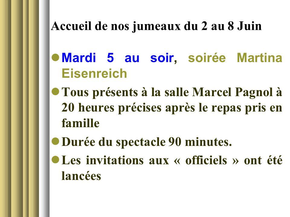 Accueil de nos jumeaux du 2 au 8 Juin Mardi 5 au soir, soirée Martina Eisenreich Tous présents à la salle Marcel Pagnol à 20 heures précises après le repas pris en famille Durée du spectacle 90 minutes.