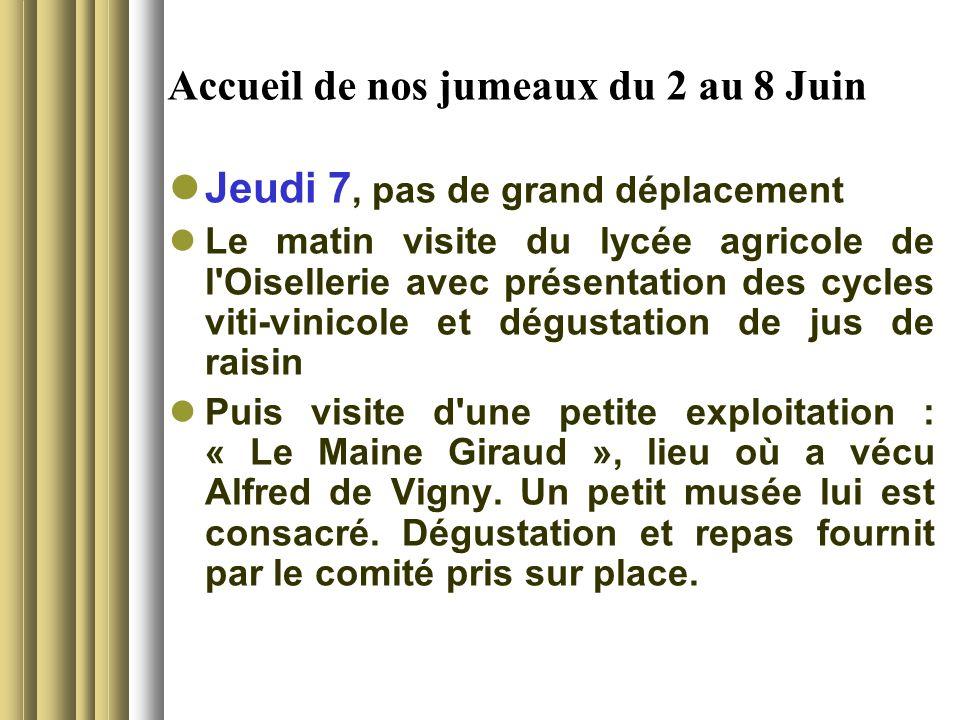 Accueil de nos jumeaux du 2 au 8 Juin Jeudi 7, pas de grand déplacement Le matin visite du lycée agricole de l'Oisellerie avec présentation des cycles