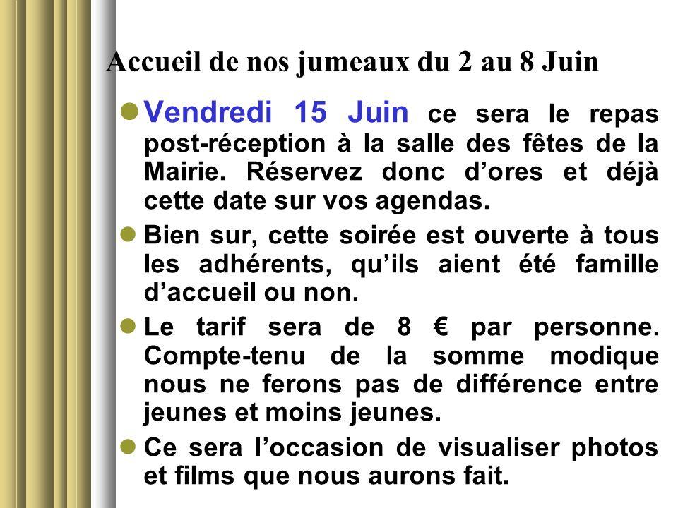 Accueil de nos jumeaux du 2 au 8 Juin Vendredi 15 Juin ce sera le repas post-réception à la salle des fêtes de la Mairie.