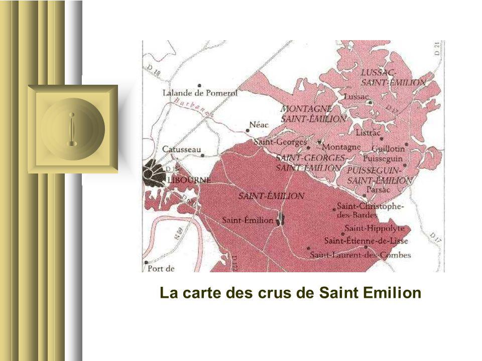 La carte des crus de Saint Emilion