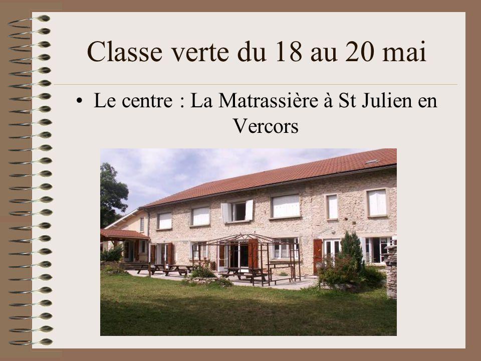 Classe verte du 18 au 20 mai Le centre : La Matrassière à St Julien en Vercors