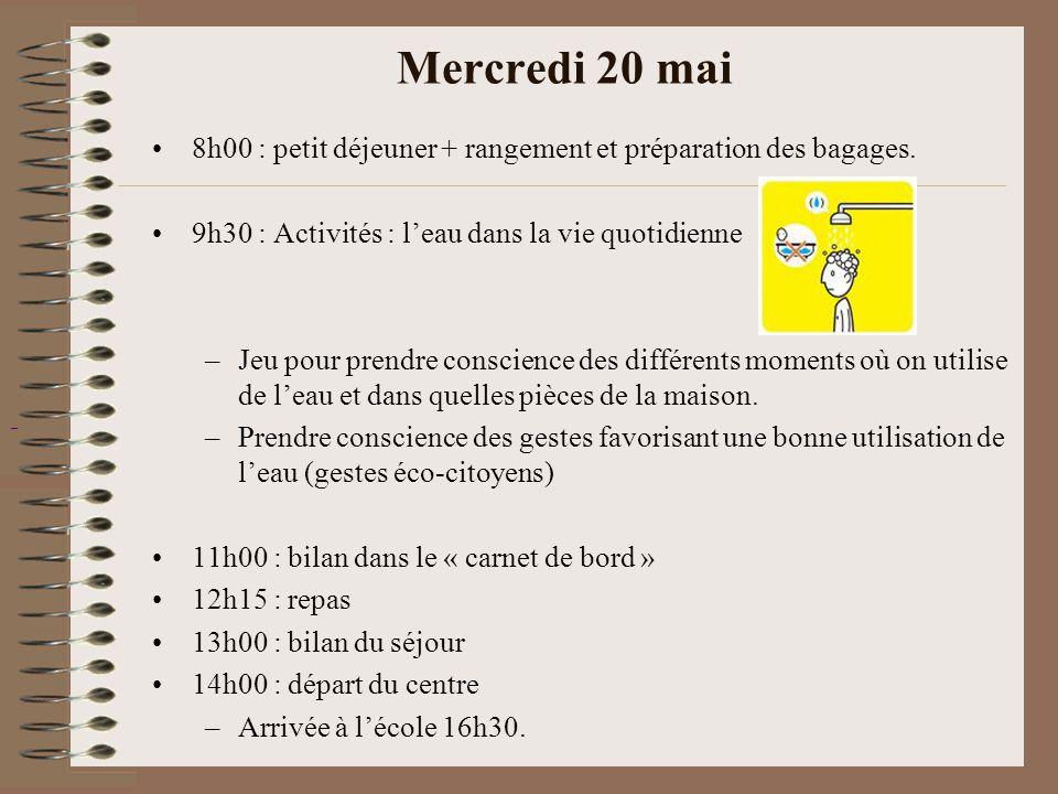 Mercredi 20 mai 8h00 : petit déjeuner + rangement et préparation des bagages. 9h30 : Activités : l'eau dans la vie quotidienne –Jeu pour prendre consc