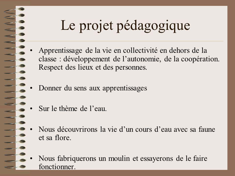 Le projet pédagogique Apprentissage de la vie en collectivité en dehors de la classe : développement de l'autonomie, de la coopération. Respect des li