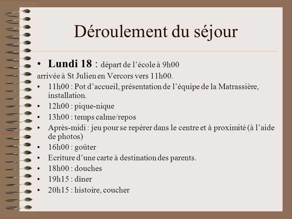 Déroulement du séjour Lundi 18 : départ de l'école à 9h00 arrivée à St Julien en Vercors vers 11h00. 11h00 : Pot d'accueil, présentation de l'équipe d