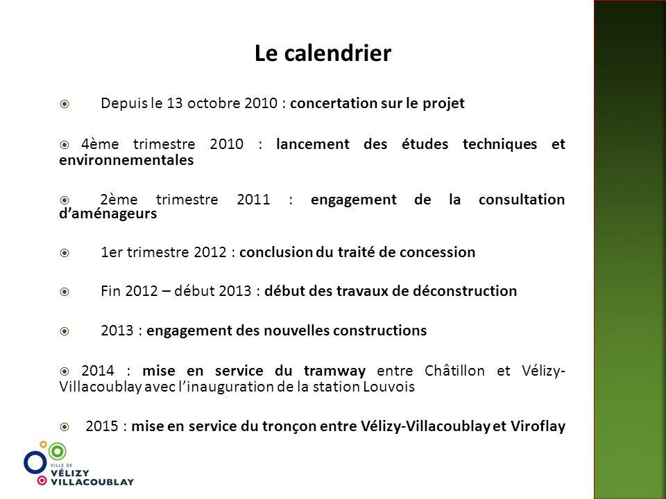 Le calendrier  Depuis le 13 octobre 2010 : concertation sur le projet  4ème trimestre 2010 : lancement des études techniques et environnementales 