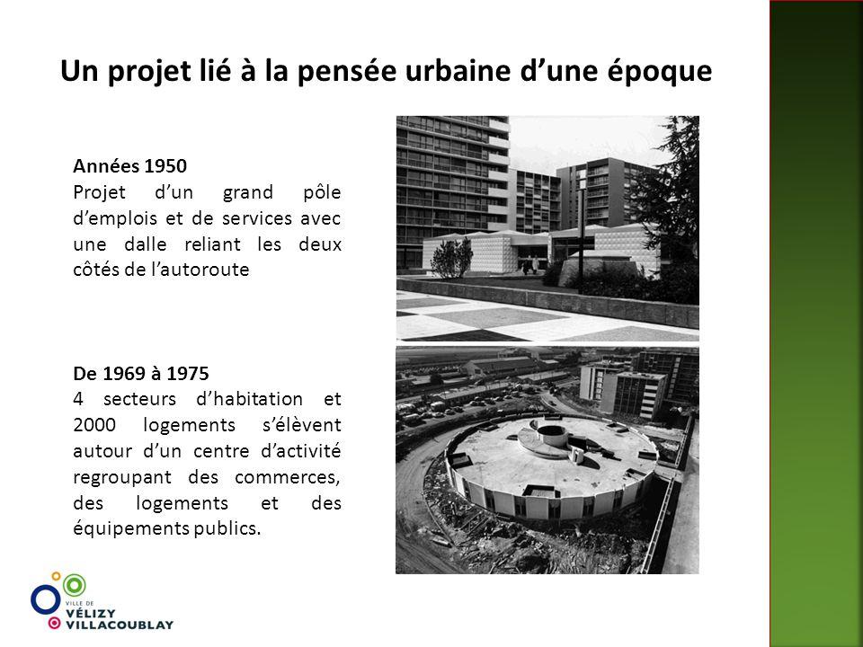 Années 1950 Projet d'un grand pôle d'emplois et de services avec une dalle reliant les deux côtés de l'autoroute De 1969 à 1975 4 secteurs d'habitatio