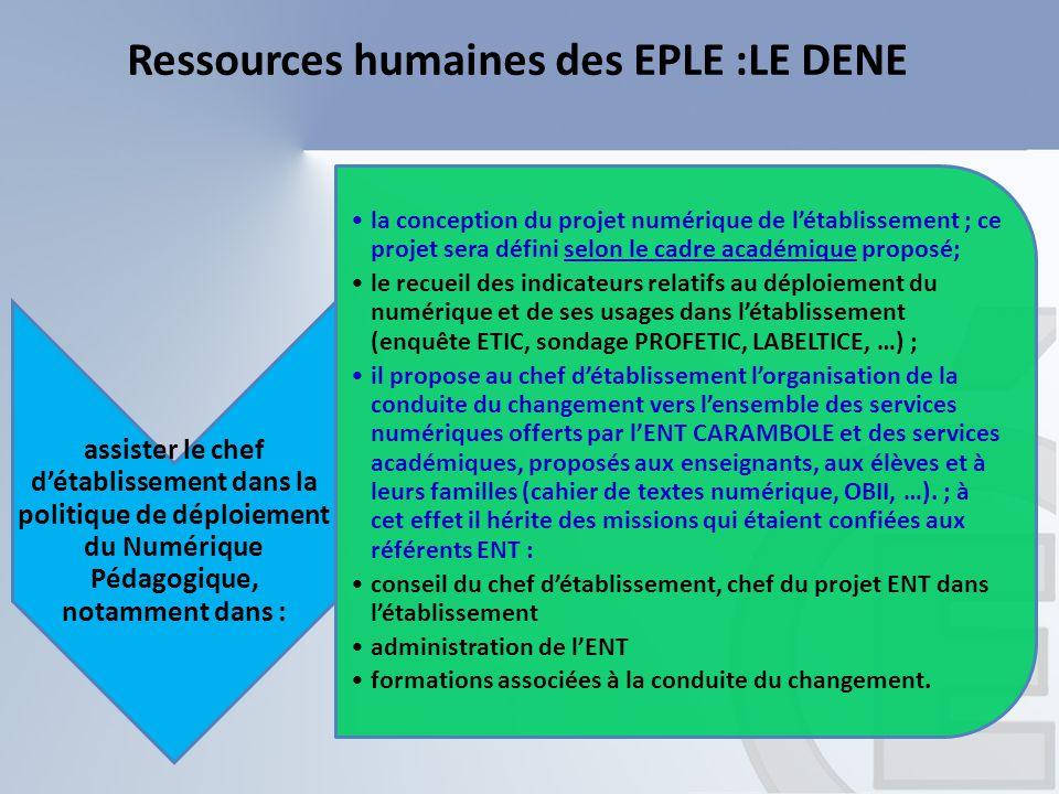 Ressources humaines des EPLE :LE DENE assister le chef d'établissement dans la politique de déploiement du Numérique Pédagogique, notamment dans : la