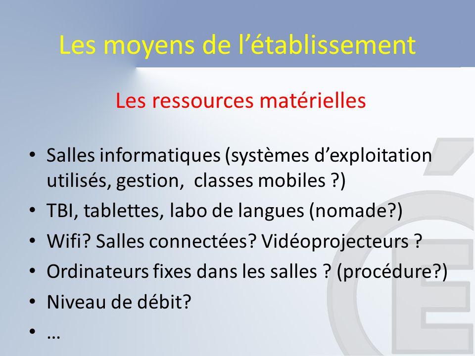 Les ressources matérielles Salles informatiques (systèmes d'exploitation utilisés, gestion, classes mobiles ?) TBI, tablettes, labo de langues (nomade