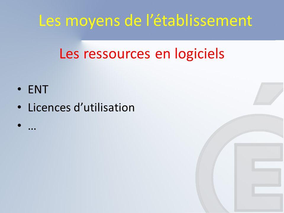 Les ressources en logiciels ENT Licences d'utilisation … Les moyens de l'établissement