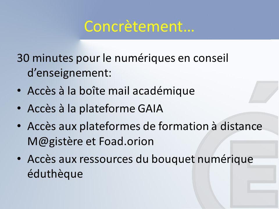 Concrètement… 30 minutes pour le numériques en conseil d'enseignement: Accès à la boîte mail académique Accès à la plateforme GAIA Accès aux plateform