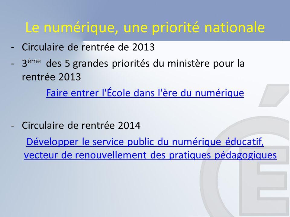 Le numérique, une priorité nationale -Circulaire de rentrée de 2013 -3 ème des 5 grandes priorités du ministère pour la rentrée 2013 Faire entrer l'Éc