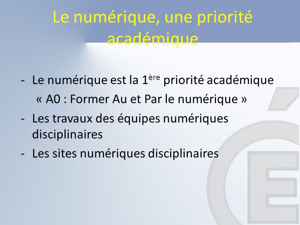 Le numérique, une priorité académique -Le numérique est la 1 ère priorité académique « A0 : Former Au et Par le numérique » -Les travaux des équipes n