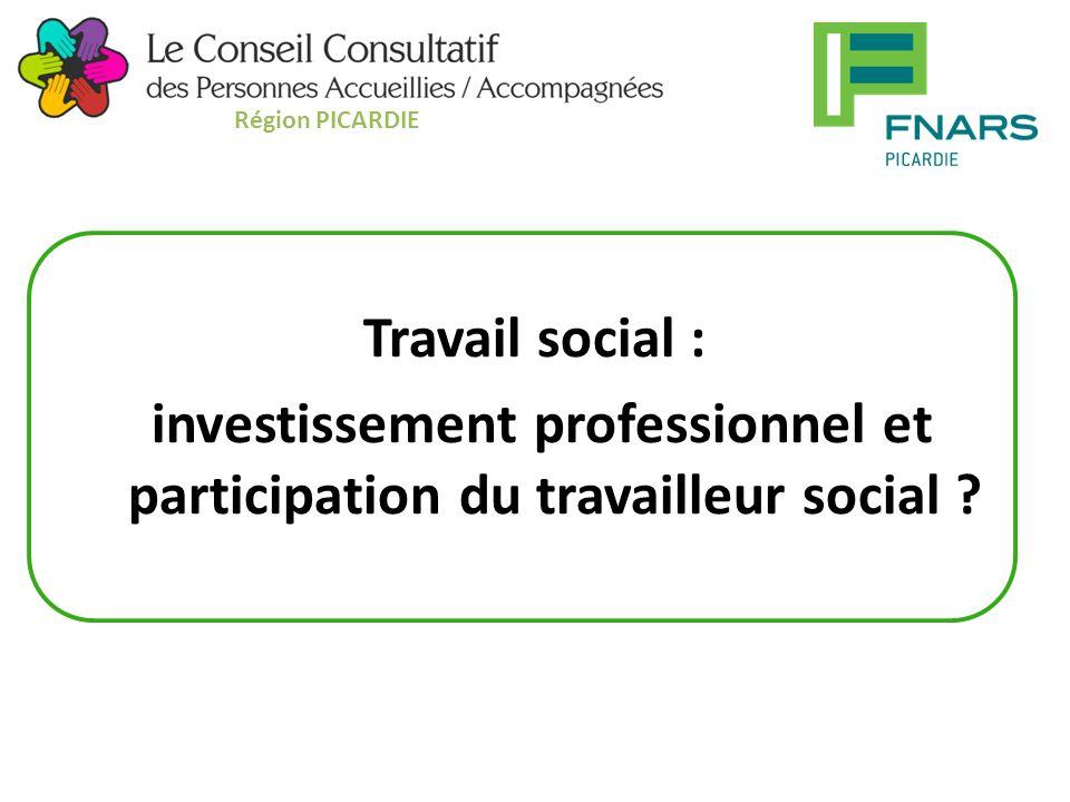 Travail social : investissement professionnel et participation du travailleur social .