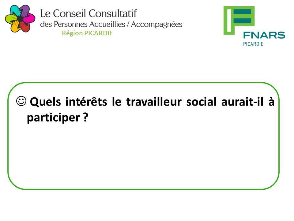 Quels intérêts le travailleur social aurait-il à participer Région PICARDIE