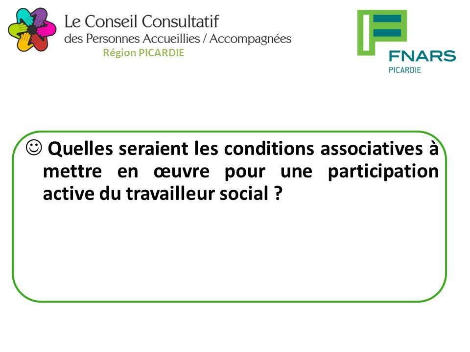 Quelles seraient les conditions associatives à mettre en œuvre pour une participation active du travailleur social .