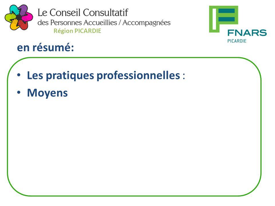 en résumé: Les pratiques professionnelles : Moyens Région PICARDIE