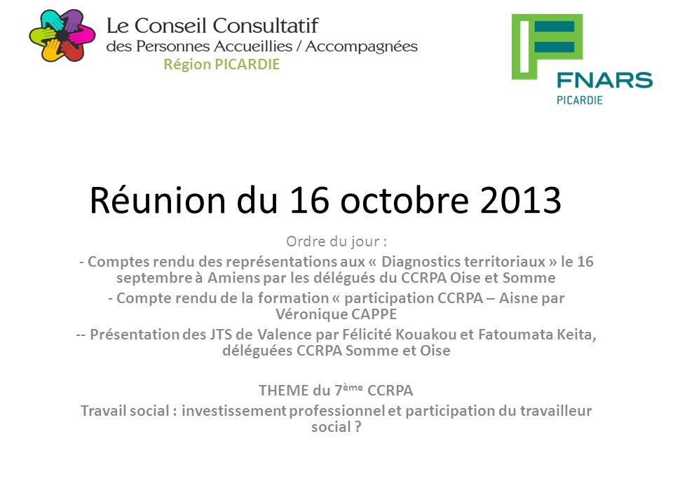 Action de formation sur la participation pour la Picardie 3 jours dans chaque département 12 personnes accueillies et 3 travailleurs sociaux par département Pour l'Aisne 23 septembre et 21 octobre à Chauny : - quelle compréhension des CVS .