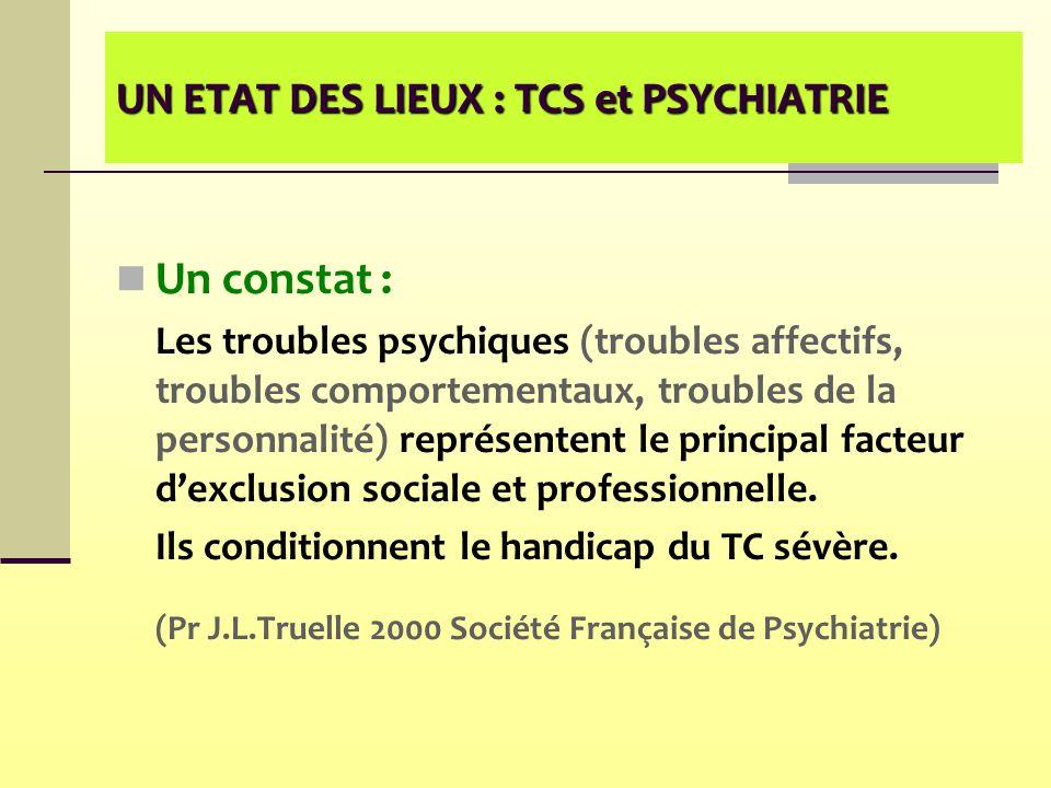 UN ETAT DES LIEUX : TCS et PSYCHIATRIE Un constat : Les troubles psychiques (troubles affectifs, troubles comportementaux, troubles de la personnalité