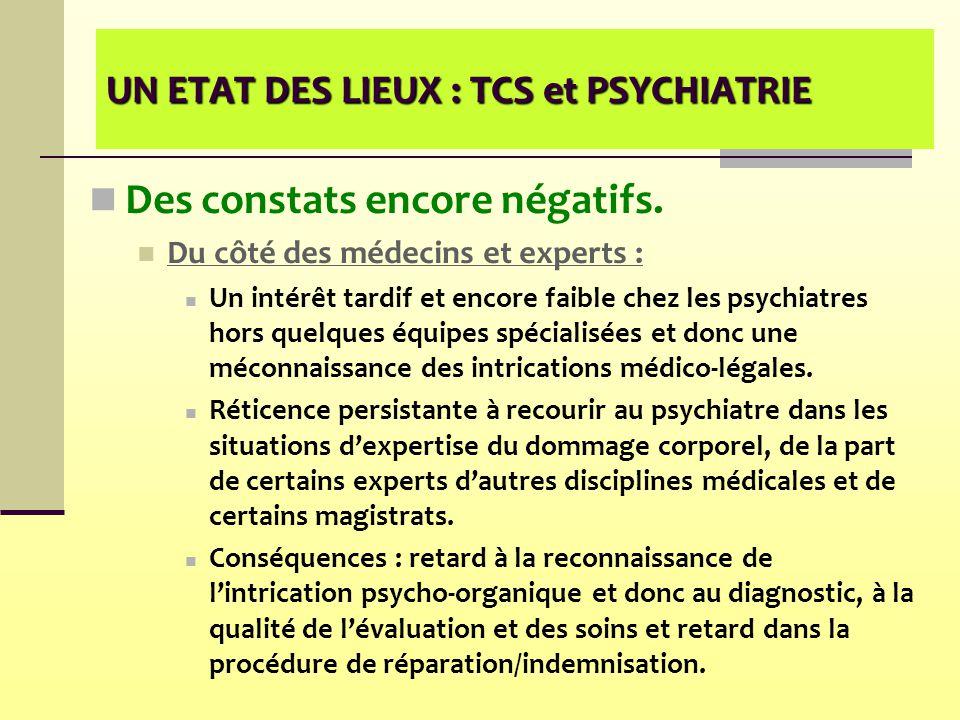 UN ETAT DES LIEUX : TCS et PSYCHIATRIE Des constats encore négatifs. Du côté des médecins et experts : Un intérêt tardif et encore faible chez les psy