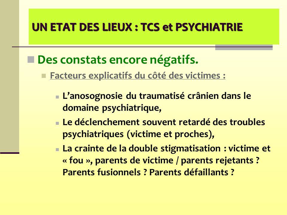 UN ETAT DES LIEUX : TCS et PSYCHIATRIE Des constats encore négatifs. Facteurs explicatifs du côté des victimes : L'anosognosie du traumatisé crânien d
