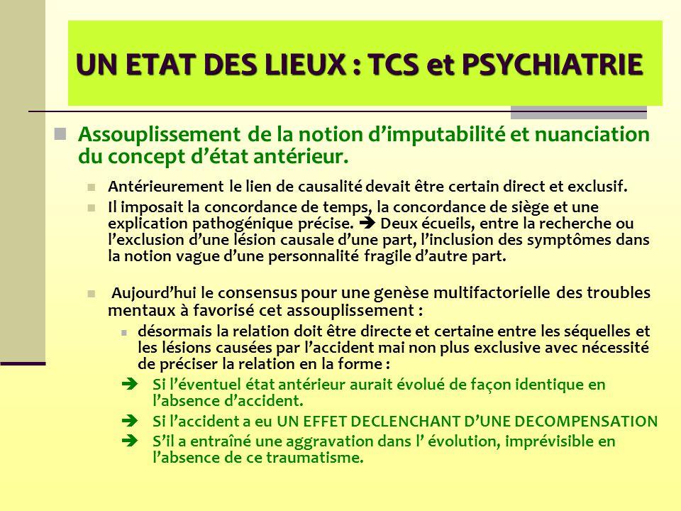 UN ETAT DES LIEUX : TCS et PSYCHIATRIE Assouplissement de la notion d'imputabilité et nuanciation du concept d'état antérieur. Antérieurement le lien