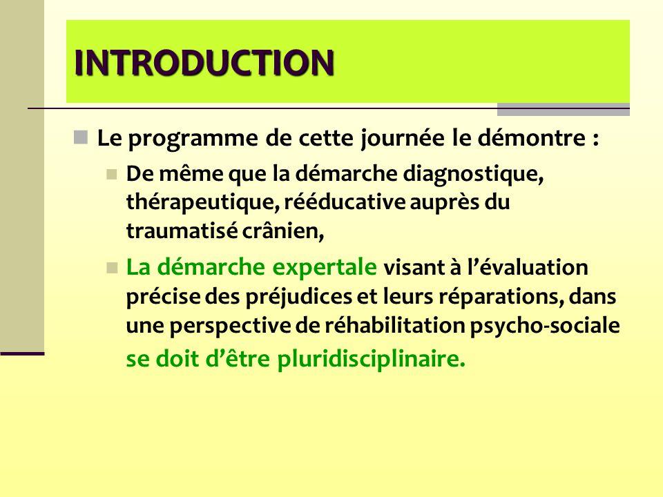 INTRODUCTION Le programme de cette journée le démontre : De même que la démarche diagnostique, thérapeutique, rééducative auprès du traumatisé crânien