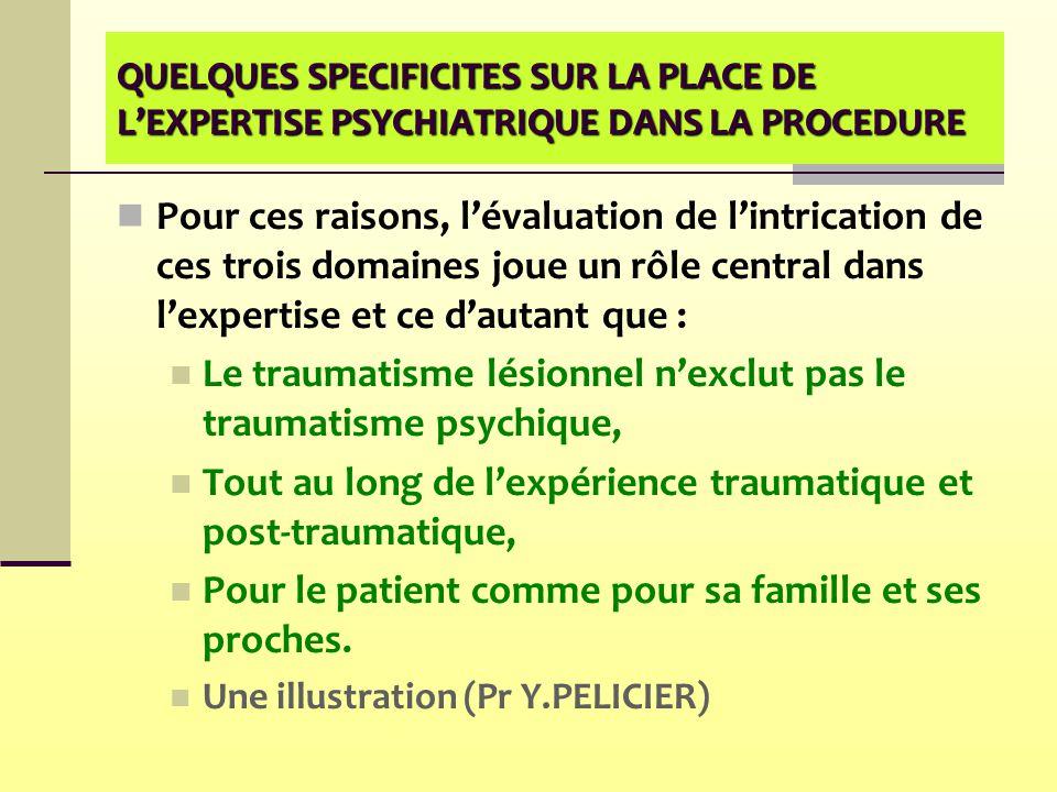 QUELQUES SPECIFICITES SUR LA PLACE DE L'EXPERTISE PSYCHIATRIQUE DANS LA PROCEDURE Pour ces raisons, l'évaluation de l'intrication de ces trois domaine