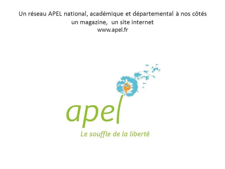 Un réseau APEL national, académique et départemental à nos côtés un magazine, un site internet www.apel.fr