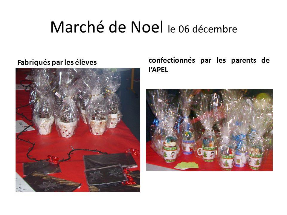 Marché de Noel le 06 décembre Fabriqués par les élèves confectionnés par les parents de l'APEL
