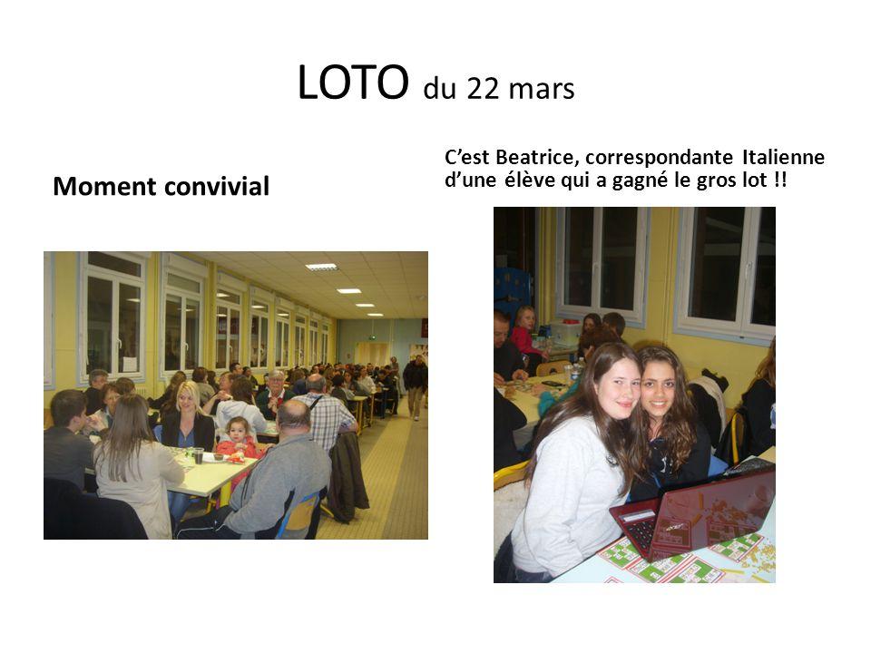 LOTO du 22 mars Moment convivial C'est Beatrice, correspondante Italienne d'une élève qui a gagné le gros lot !!