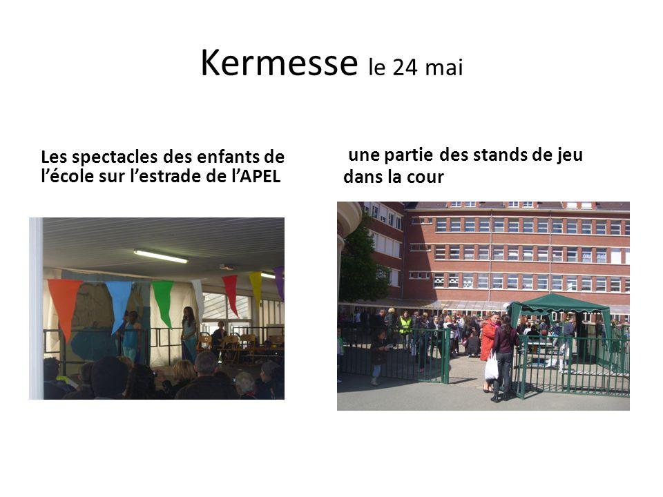Kermesse le 24 mai Les spectacles des enfants de l'école sur l'estrade de l'APEL une partie des stands de jeu dans la cour
