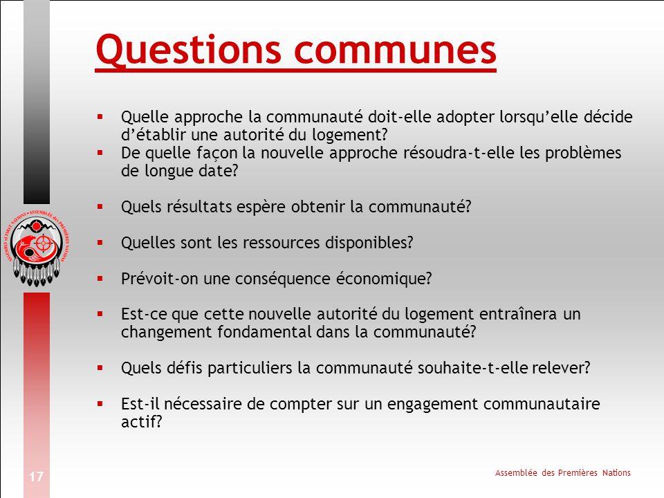 Assemblée des Premières Nations 17 Questions communes  Quelle approche la communauté doit-elle adopter lorsqu'elle décide d'établir une autorité du logement.