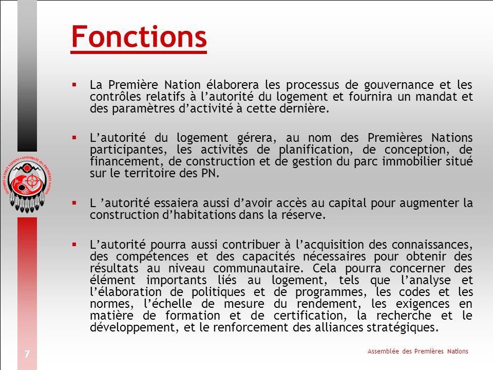 Assemblée des Premières Nations 7 Fonctions  La Première Nation élaborera les processus de gouvernance et les contrôles relatifs à l'autorité du logement et fournira un mandat et des paramètres d'activité à cette dernière.