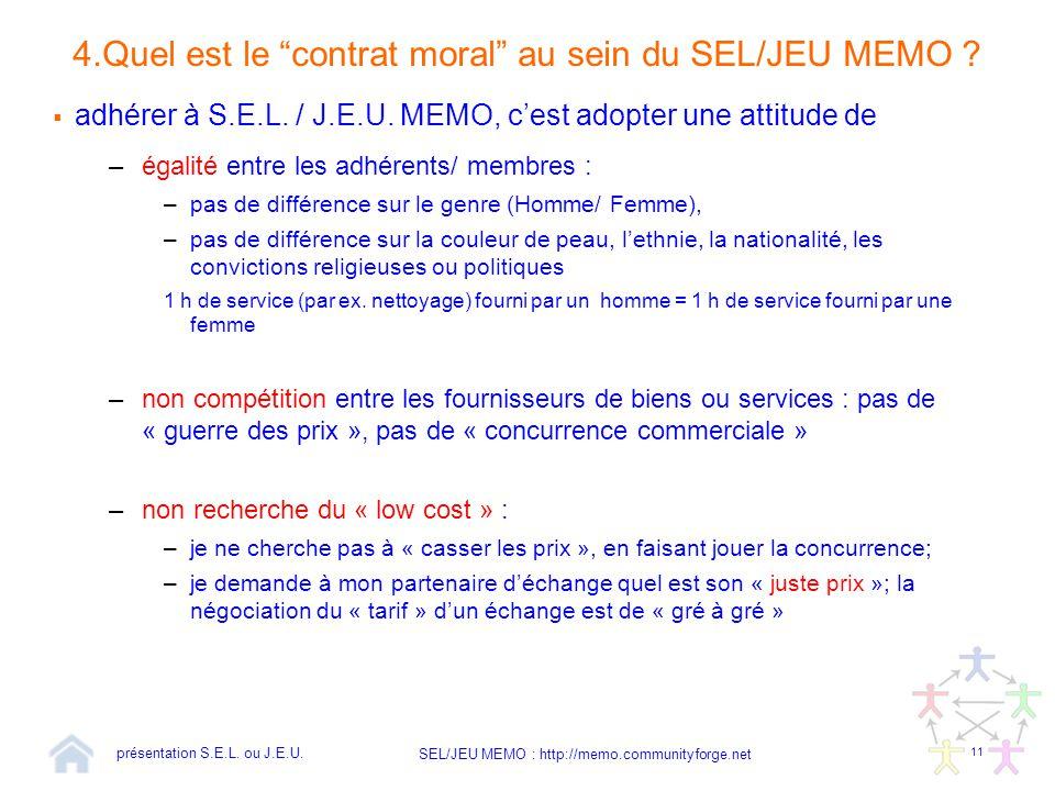 """11 SEL/JEU MEMO : http://memo.communityforge.net 4.Quel est le """"contrat moral"""" au sein du SEL/JEU MEMO ?  adhérer à S.E.L. / J.E.U. MEMO, c'est adopt"""