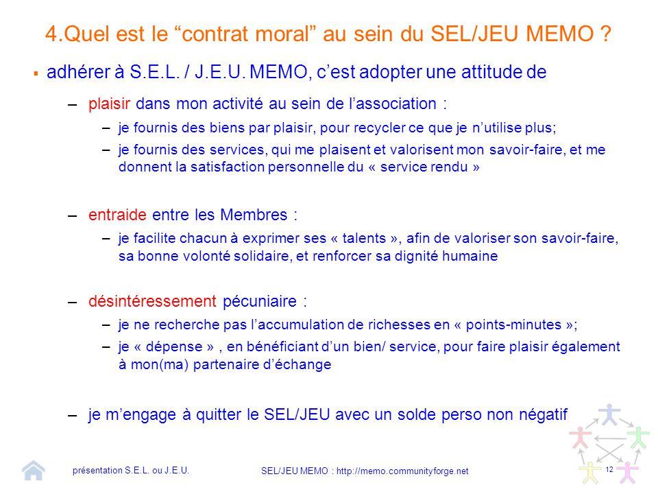 """12 SEL/JEU MEMO : http://memo.communityforge.net 4.Quel est le """"contrat moral"""" au sein du SEL/JEU MEMO ?  adhérer à S.E.L. / J.E.U. MEMO, c'est adopt"""