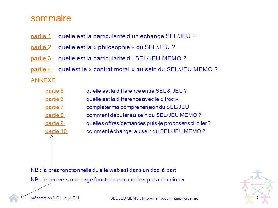 2 SEL/JEU MEMO : http://memo.communityforge.net sommaire partie 1partie 1quelle est la particularité d'un échange SEL/JEU ? partie partie 2quelle est