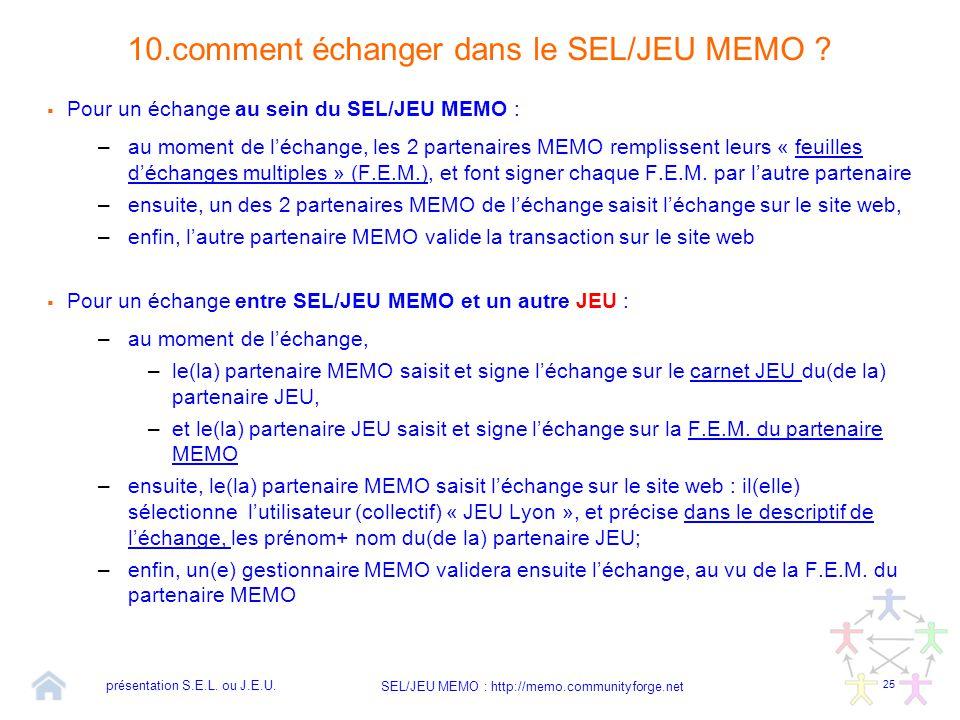 25 SEL/JEU MEMO : http://memo.communityforge.net 10.comment échanger dans le SEL/JEU MEMO ?  Pour un échange au sein du SEL/JEU MEMO : –au moment de